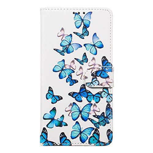 Miagon für iPhone 6S/6 Marmor Flip Hülle,PU Leder Klapphülle Bookstyle Brieftasche Wallet Ständer Case Cover,Blau Schmetterling