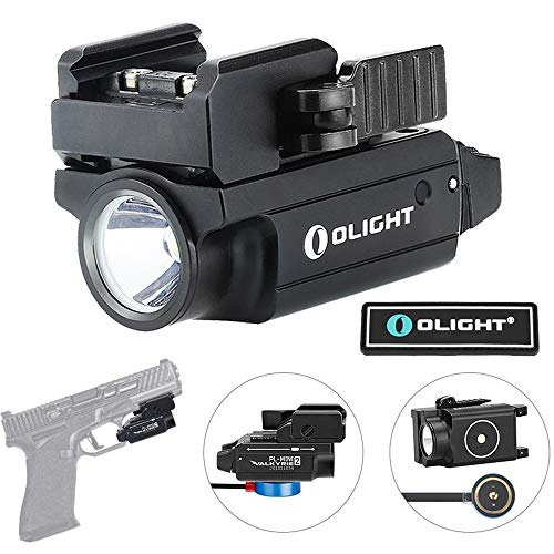 OLIGHT PL-Mini 2 Valkyrie 600 Lumens Magnetic USB Rechargeable Compact Weaponlight with Adjustable Rail (Black)