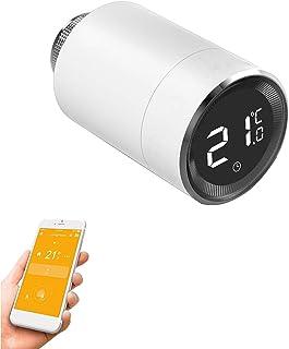Qiumi Válvula inteligente de radiador termostático con pantalla LCD de temperatura, control automático de temperatura TRV,...