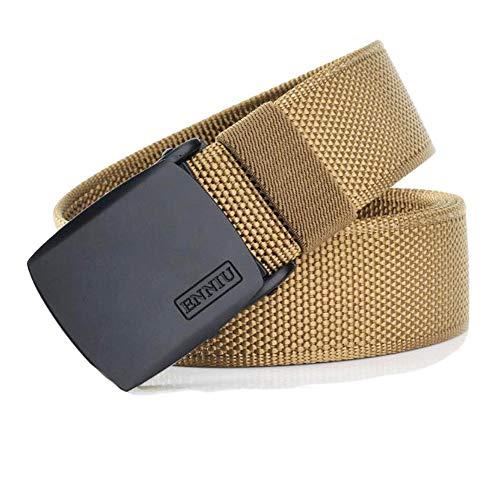 Bansga Cinturón táctico militar Hombres Hebilla metálica Espesar Cinturones de lona de nylon para hombres(khaki)