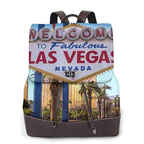 Women'S Leather Backpack,Welcome To Fabulous Las Vegas Sign Print Women'S Leather Backpack