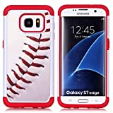 Sunshine - Tech Galaxy S7 Edge Case, Baseball Sports Pattern Shock-Absorption Hard PC and Inner Silicone Hybrid Dual Layer Armor Defender Protective Case Cover for Samsung Galaxy S7 Edge