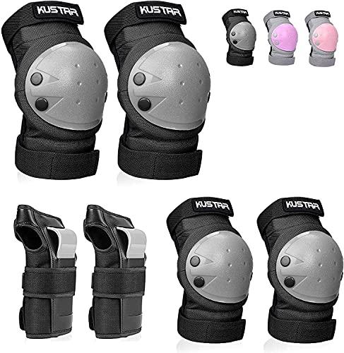KUSTAR Knieschoner Kinder Inliner Schützer Kinder 6 in 1, Verstellbare Kinder Schutzausrüstung Ellenbogen- und Handgelenkschoner Set (6-13 Jahre) Ideal für Skateboard Radfahren