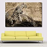 RTCKF Vintage Poster Wall Art Animal Canvas Painting Lions and Leopards Pictures for Living Room Decoración para el hogar Impresión y pósters 60x80CM (Sin Marco)