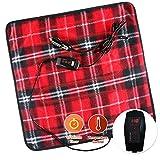ZONETECH Car Mini Heated Travel Blanket Pad Red Plaid Premium Quality 12V Comfortable Heating Car Mini Blanket Pad Perfect for Winter Travels