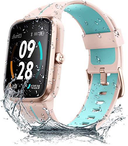 Smartwatch GPS Damen Herren, 1.3 Zoll Touch-Farbdisplay, Fitness Armbanduhr mit integriertem GPS, 5 ATM wasserdichte Smart Watch Fitnessuhr Sportuhr mit Pulsuhr Schlafmonitor, Stoppuhr für Android iOS