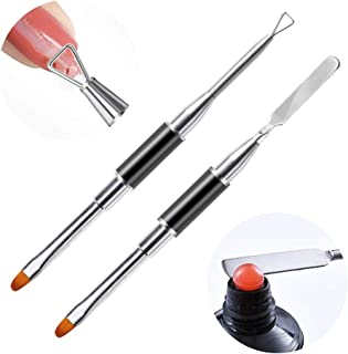 DKAF 2Pcs Acrylic UV Gel Dual-Ended Poly Gel Brush, Poly Extension Gel Brush and Picker, Triangle Nail Polish Cuticle Remover, Stainless Steel Brush for Nails Extension