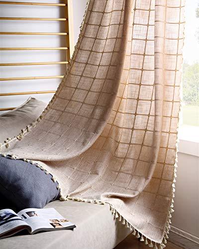 YoKii Boho Curtains for Bedroom 63-Inch Modern Farmhouse Cotton Linen Embroidery Tassel Window Curtain Panels Semi-Transparent Geometric Trellis Draperies Living Room Decor (Pairs 54W x 63L, Tan)