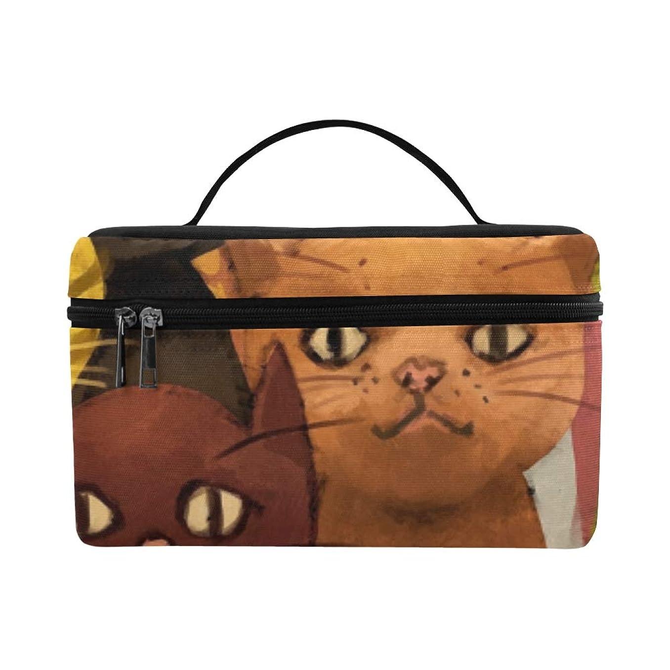 暴力孤独な目的GXMAN メイクボックス コスメ収納 化粧品収納ケース 大容量 収納ボックス 化粧品入れ 化粧バッグ 旅行用 メイクブラシバッグ 化粧箱 持ち運び便利 プロ用 可愛い動物 猫