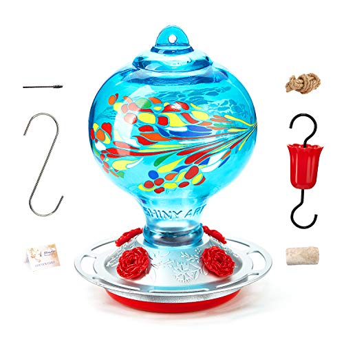 ShinyArt Hummingbird Feeder for Outdoors, 38 Ounces, Blue Phoenix, Including Ant Moat, S Hook, Hemp Rope, Brush, Cleaning Rag and Service Card
