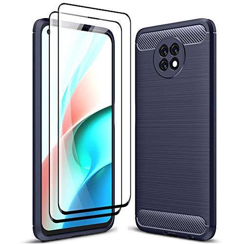 ALAMO Funda Ultra de Silicona para el Xiaomi Redmi Note 9T 5G, Carcasa Fibra de Antigolpes Bumper [con 2 Pack Protector de Vidrio Templado para Pantalla ] - Azul