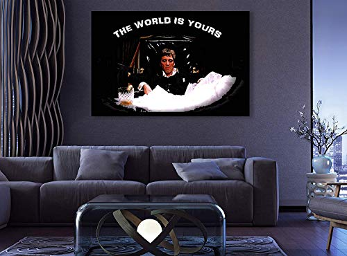 Scarface Tony Montana Dark Times Premium The World is Yours Al Pacino XXL Wall Decor/Home Decoration Stretched Gallery Canvas Wrap Giclee Print Ready to Hang (24' HX36 W)