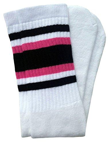 skatersocks 25 Inch gestreifte Tube Socken oldschool Kniestrümpfe Sportsocken weiß schwarz pink