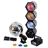 Oneconcept Mega Set de iluminación para Fiestas (Bola de Discoteca, estroboscopio Mini, Reflector, Luces LED, bajo Consumo, fácil Montaje de Todos los componentes)