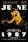 Made In June 1987-Limited Edition Notebook: Cat On DJ Playing Music With Disco Light Compostion, June Planner: Funny Kitty Cat Dj And Disco Lights Journal-June Planner