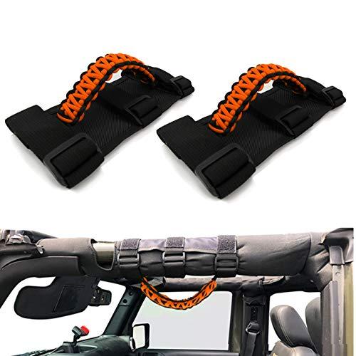 Aochuang - Manillas de sujeción para Jeep Wrangler TJ, JK, JK, JK, JL, JLU (Sport、Willys、Sahara, Rubicon) 1996-2020 (2 piezas) para accesorios Wrangler (organge)