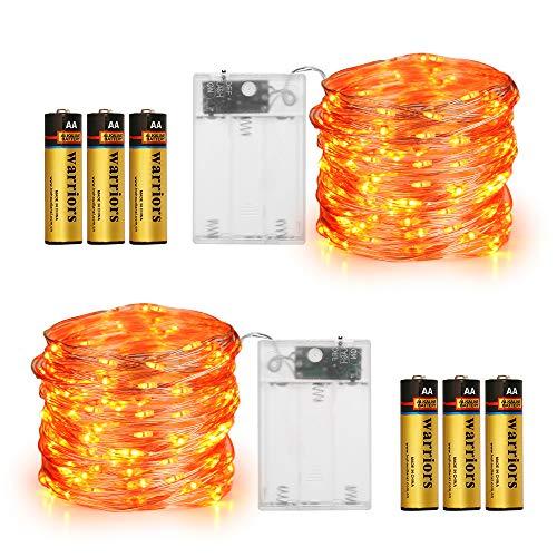 Orange Halloween Lights, 2 Pack Fairy Lights (Battery Included) 16.4Ft 50 LED 2 Modes Halloween String Lights Battery Operated Twinkle Lights for Halloween Decorations