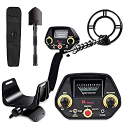 RM RICOMAX Metal Detector for Adults & Kids - High-Accuracy, View Meter, Four Detection Modes DISC/Tone/Full Metal/Pinpointer Mode, 10 Levels of Sensitivity Adjustment, 10-inches Search Coil