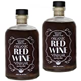 Mother Earth Organic Red Wine Vinegar with The Mother, Fresh Pressed Organic Cabernet Grapes, ORWV, RWV, Raw, Unpasteurized, Unfiltered (2/14oz Apothecary Glass Bottles with Pour Spout)
