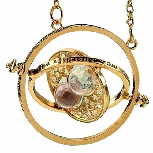 H&H UK, collana Giratempo con ciondolo a forma di clessidra, con sacchetto di velluto, Horcrux e magia e Placcato oro, colore: 07 Grey, cod. HPTT-G