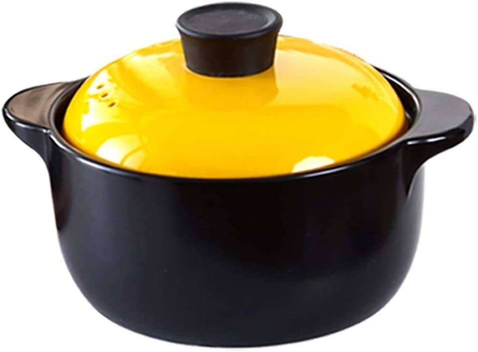 ARTFFEL Stick Bunte Keramik Auflaufform mit hohen Temperaturbeständigkeit Keramiktopf mit Deckel Sauber (Color : 1.5L Short Soup Pot) 3.5l Soup Pot