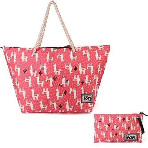Borsa shopper bag + pochette astuccio beauty Lama Alpaca Peru Style shopping bag corallo mare free time cartella con manici