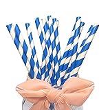 Pajitas de papel Royal Azul 100 piezas, pajitas de rayas Mazarine para bebés y niños,...