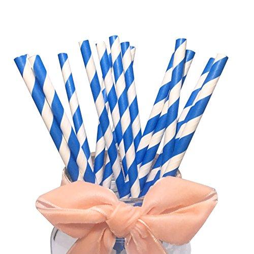 BOFA blau Papier Trinkhalme mit Wirbel Streifen, 19 cm lang, 100% biologisch abbaubar, ideal für Cocktaildekorationen, Geburtstagsfeiern und Hochzeiten 100 Stück