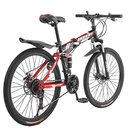 GHGH 26' Wheels Folding Mountain Bike Shimanos 21 Speed Bicycle Full Suspension MTB Bikes High Carbon Steel