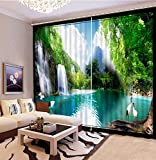 3D Printed Blackout Curtainsdigital Printing Design Distinctive Vertical Curtains, Beautiful Mountain Landscape Printing Simple Stylish Eyelet Curtains Breathable Insulation,For Living Room Bedroom K