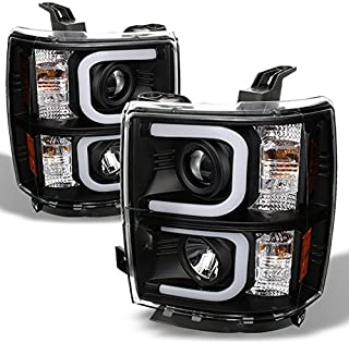 For Chevy Silverado Black Bezel LED Daylight Light Tube Halo Design Projector Headlights Front Lamps