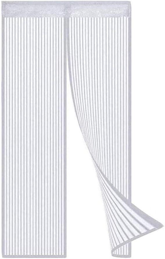 Mosquitera Cortina Puerta Magnetica, 75x210cm, blanco mosquitera con imán, para evitar la entrada de insectos, Cortina magnética de Malla Suave para balcón, porche, sala de estar, habitación de niños