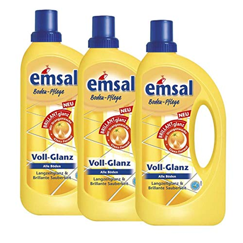 3x emsal Boden-Pflege Voll-Glanz 1 Liter, Langzeitglanz & Brillante Sauberkeit mit Orangenwachs