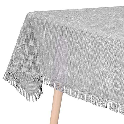 WOLTU Gartentischdecke Weichschaum Tischdecke mit Quaste geschäumt 3D Druck Wetterfest Witterungsbeständig rutschfest Outdoor eckig 110x140 cm Hellgrau Bedruckt