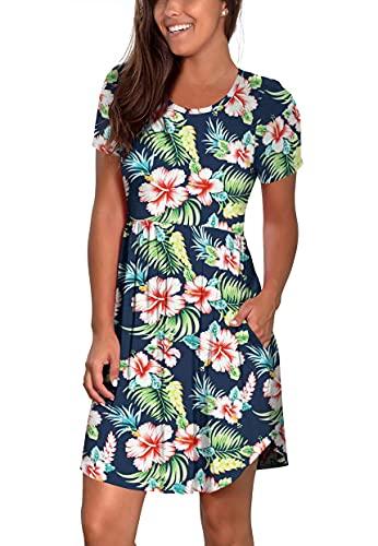 Atizon Women Summer Casual Mini Tunic Dress Modest Floral Dress Short Sleeve Midi Dresses for Women