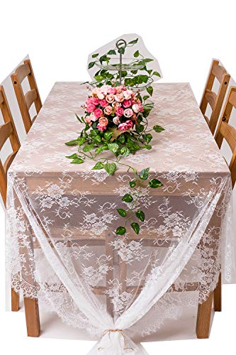 Crisky 60'x120' Classic White Lace Tablecloths for Weddings, Rose Vintage Embroidered Lace Table runner Overlay for Baby & Bridal Shower Décor, Elagent Chic Spring Sunmmer Outdoor Tea Party Tablecover