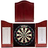 Solid Wood Dartboard Cabinet Set with Bristle Dartboard and 6 Steel Tip Darts (Deluxe Mahogany)