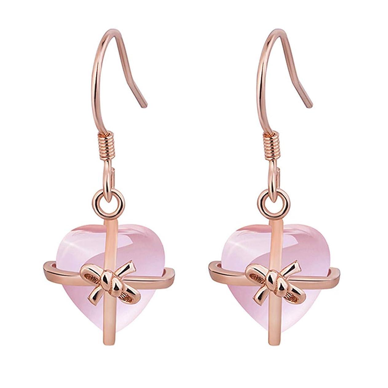 どんなときも故障悪魔Nicircle 女性ナチュラルハートピンクローズ925スタンダードシルバージュエリーイヤリング ピンクのバラ Women Natural Heart Pink Rose 925 Standard Silver Jewelry Earrings