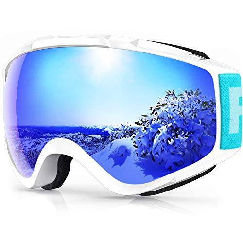 findway Skibrille, Snowboard Brille für Brillenträger Herren Damen Erwachsene Jugendliche OTG UV-Schutz Kompatibler Helm Anti Fog Skibrillen Sphärisch Verspiegelt