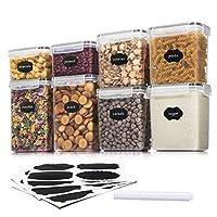 aitsite contenitori per cereali contenitori alimentari plastica con coperchio barattoli ermetici per alimenti 600ml*2,1400ml*2,1600ml*2,2000ml*2+12 etichette + penna per acquerello