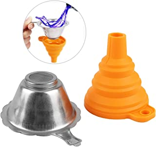 Festnight 3D Printer Accessories Parts Collapsible Funnel Silicone Foldable Funnels Stainless Steel Resin Filter for Pouri...