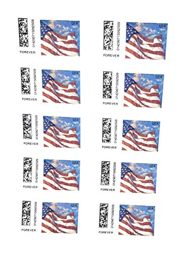 booklet of 2 forever stamps self adhesive (stamp design may vary) flag sheet 40 stamps total