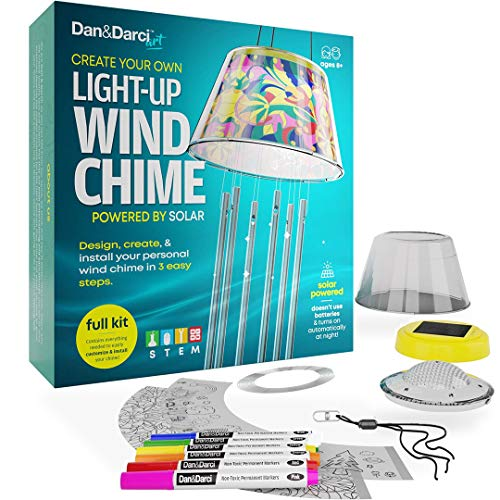 Make Your Own Solar-Powered Light-Up Wind Chime Kit - Build & Design your DIY Chimes in 3 Easy Steps - Kids art Projects Kits - Childrens STEM Fun Science Craft Gift Set - Girls Arts and Crafts Gifts