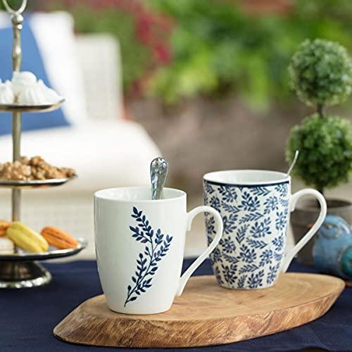 Madame Coco Maena Rotin Tassen 2er Set - Kaffeetasse Teetasse 300 ml Design, hellblau orientalisch hochwertig, tee, mocca cappuccino kaffee , das ideale Geschenk