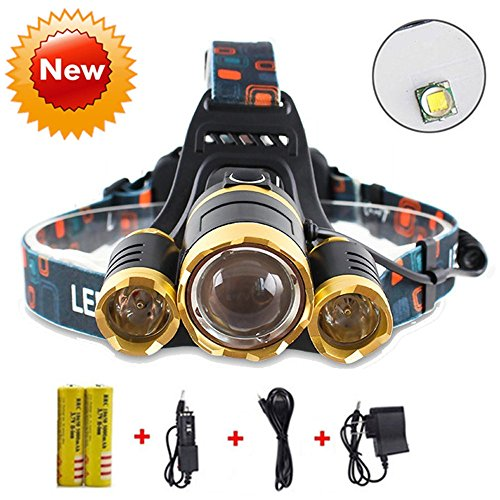 Brightest and Best LED Headlamp American Design 10000 Lumen flashlight-IMPROVED CREE LED Rechargeable 18650 headlight flashlights Waterproof Hard Hat Light Bright Head Lights Camping Running headlamps