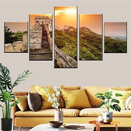 lcyfg Impresiones sobre Lienzo Impresión En HD 5 Piezas De Arquitectura China Antigua Cartel De La Gran Muralla Imagen Decoración Pared Arte Sala Lienzo Modular 100X50Cm