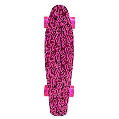 Unibest Skateboard Mini Cruiser Board Rollbrett Retro-Board 55x14cm mit LED Leuchtrollen - pink