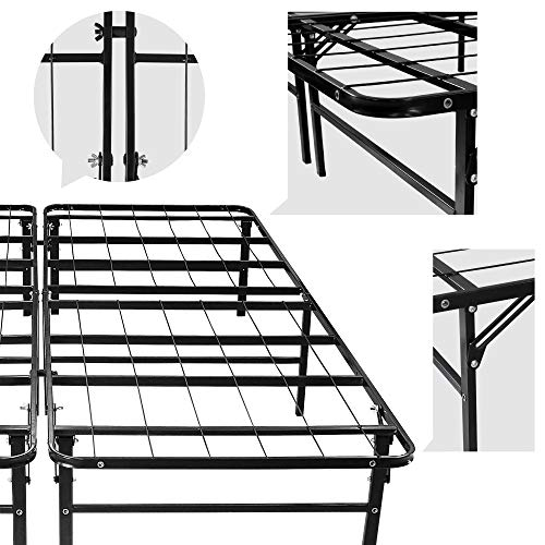 Todeco - Cadre de Lit Pliant, Structure de Lit en Métal - Matériau: Acier inoxydable - Dimensions du produit replié: 101,5 x 76 x 17 cm - Queen size, 200 x 148 x 36 cm