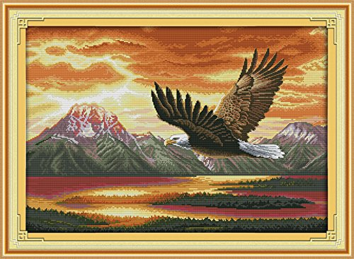 Joy Sunday Cross Stitch Kit 14CT Stamped Embroidery Kits Precise Printed Needlework- The Flying Eagle (2) 63×46CM