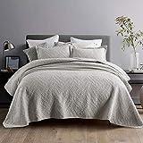 Qucover Tagesdecke Grau 240x260 aus Baumwolle Elegante Bettüberwurf Doppelbett für Winter mit Stickerei Muster Gesteppte Decke für Bett mit Kissen Set Dünne Steppdecke